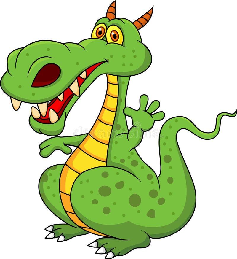 Bande dessinée mignonne de dragon vert illustration de vecteur
