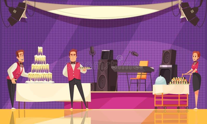 Illustration de bande dessinée de préparation de banquet illustration stock