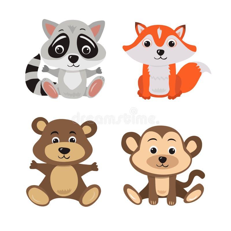 Illustration de bande dessinée de raton laveur, de renard, d'ours et de singe de sept animaux de bébé illustration libre de droits