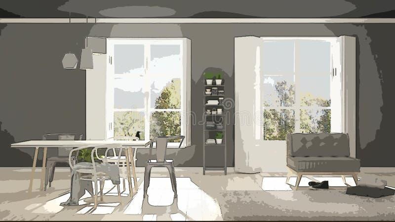 Illustration de bande dessinée de salon moderne confortable, conception intérieure Fond coloré, concept d'appartement avec des me illustration stock