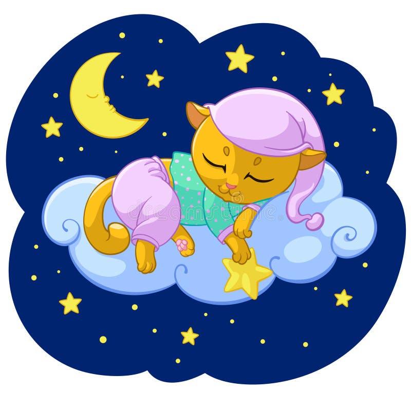 Illustration de bande dessinée de sommeil de Kitty de sommeil de rêve de chaton sur des étoiles de nuage dans le pyjama pour le c illustration stock