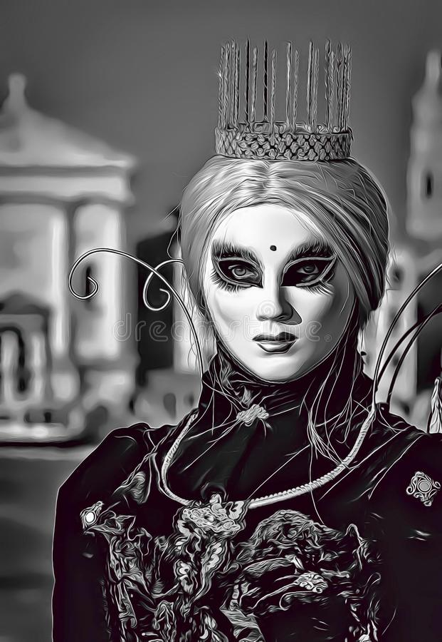 Illustration de bande dessinée de stupéfier la princesse blonde avec la couronne et le masque pendant le carnaval de Venise en It illustration libre de droits