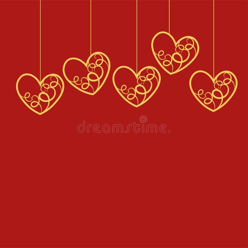 Illustration de bande dessinée de vecteur de carte heureuse de jour de valentines, typographie Objet rouge entendu de forme sur l illustration libre de droits