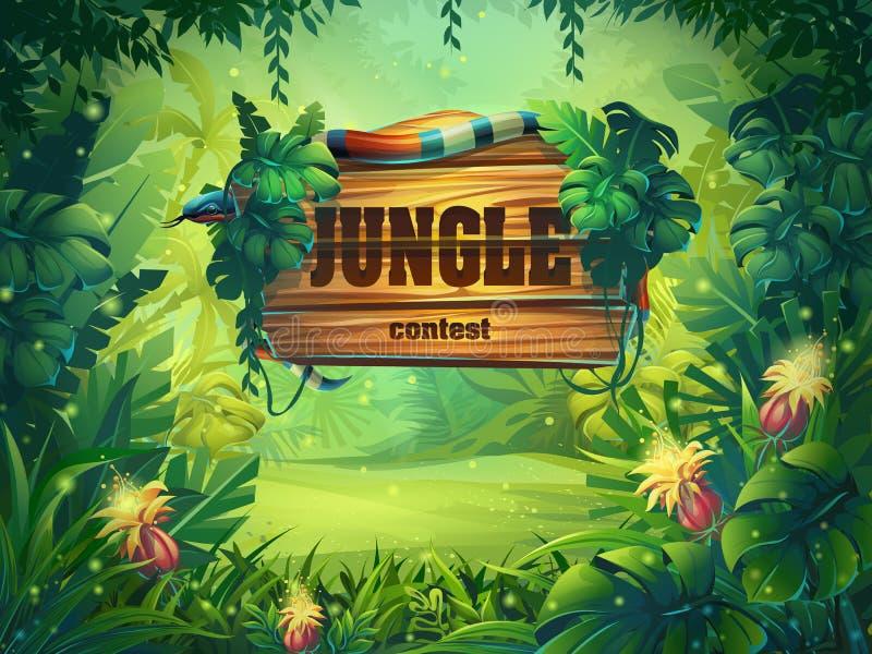 Illustration de bande dessinée de vecteur de forêt tropicale de fond illustration stock