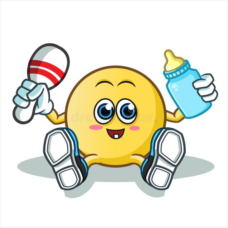 Illustration de bande dessinée de vecteur de mascotte de bébé d'émoticône image stock