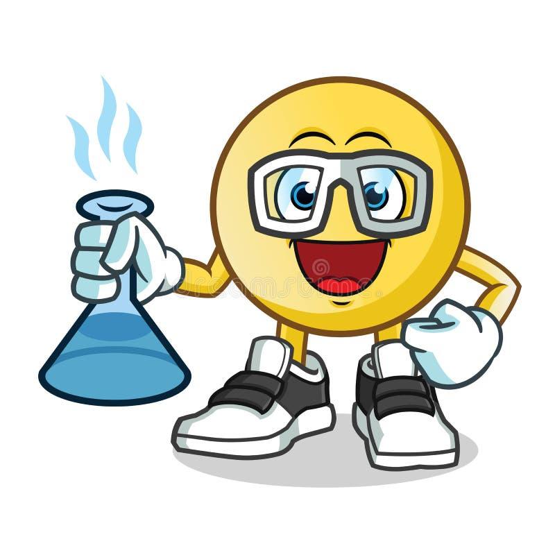 Illustration de bande dessinée de vecteur de mascotte de scientifiques d'émoticône illustration stock