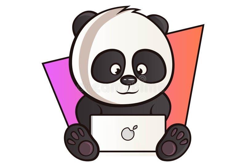 Illustration de bande dessinée de vecteur de panda mignon illustration de vecteur