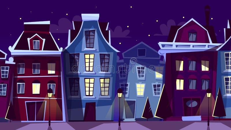 Illustration de bande dessinée de vecteur de paysage urbain de nuit d'Amsterdam illustration de vecteur