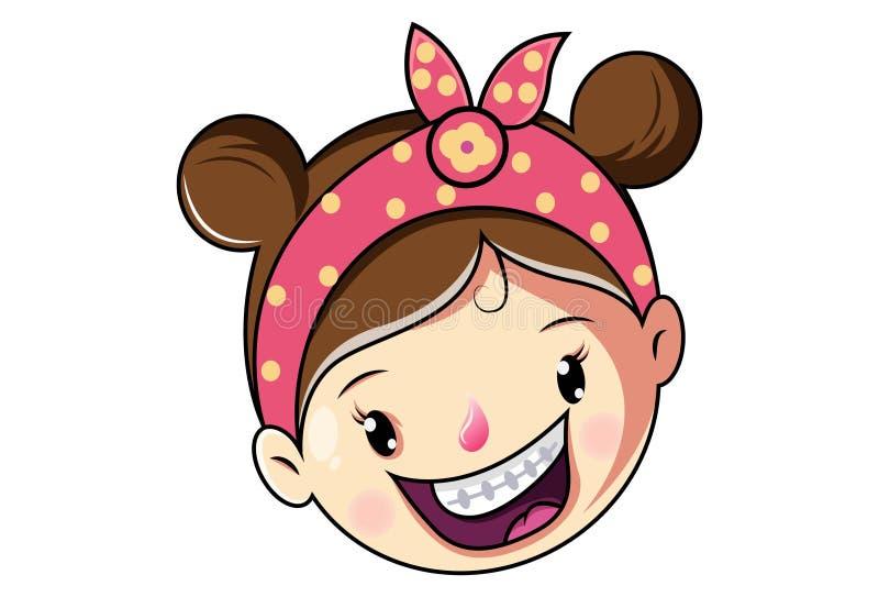 Illustration de bande dessinée de vecteur de visage mignon de fille illustration stock