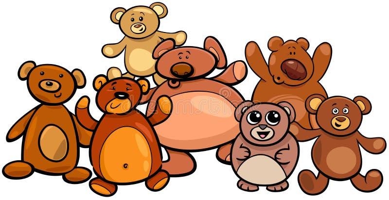 Illustration de bande dessin?e de groupe d'ours de nounours illustration libre de droits