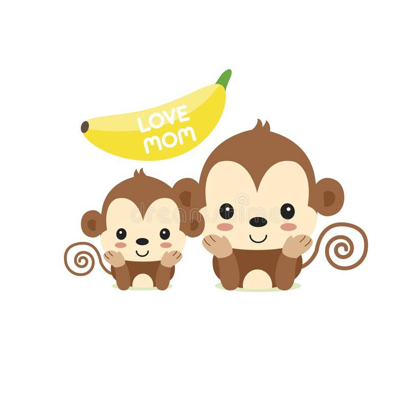 Illustration de bande dessin?e de singe de maman et de b?b? pour la carte de voeux du jour de m?re illustration de vecteur