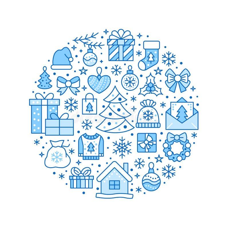 Illustration de bannière de cercle de Joyeux Noël avec la ligne plate icônes Pin de carte de voeux de nouvelle année, présents, b illustration libre de droits