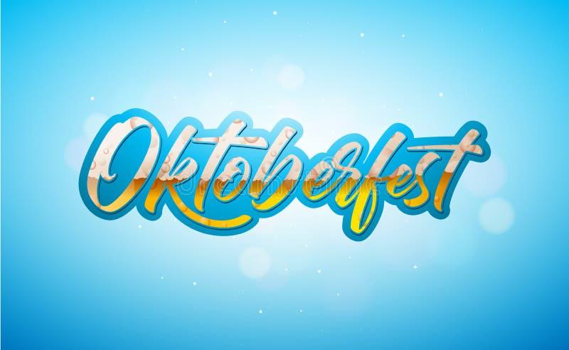 Illustration de bannière d'Oktoberfest avec Lager Beer frais dans le lettrage de typographie sur le fond bleu brillant Vecteur illustration stock