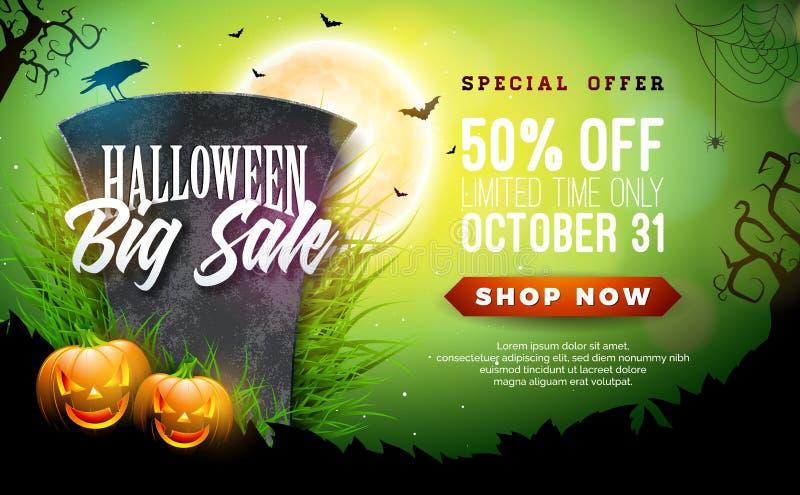 Illustration de bannière de vecteur de vente de Halloween avec le potiron et la pierre tombale faits face effrayants sur le fond  illustration stock