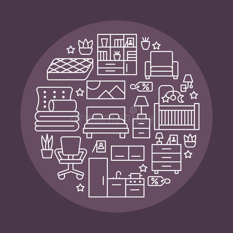 Illustration de bannière de vente de meubles avec la ligne plate icônes Affiche intérieure de magasin avec le salon, chambre à co illustration libre de droits