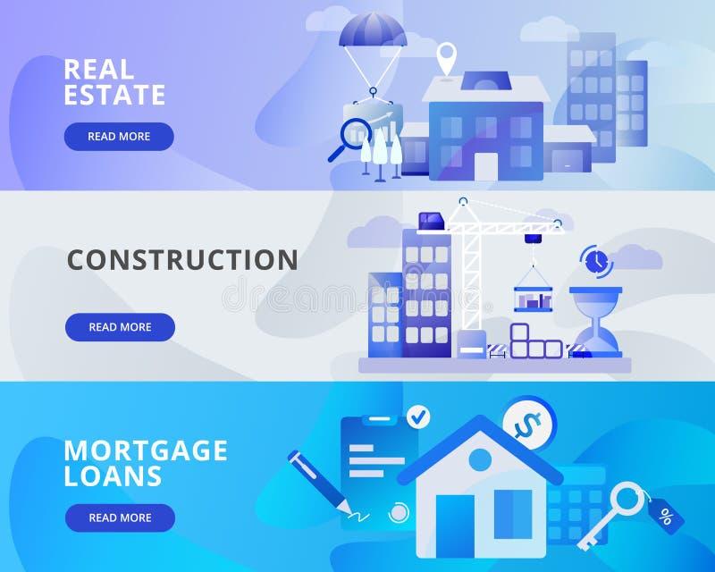 Illustration de bannière de Web de Real Estate, construction, prêts hypothécaires Concept de construction plat moderne de concept illustration libre de droits