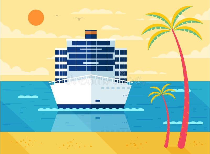 Illustration de bateau de croisière en mer, vue de face, près de plage, palmiers illustration de vecteur