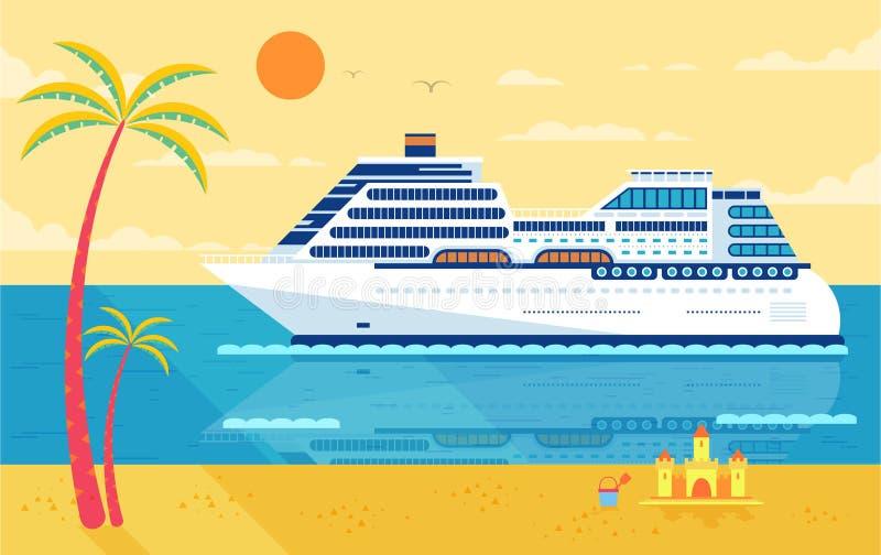 Illustration de bateau de croisière, vue de côté, près de plage, palmiers illustration stock