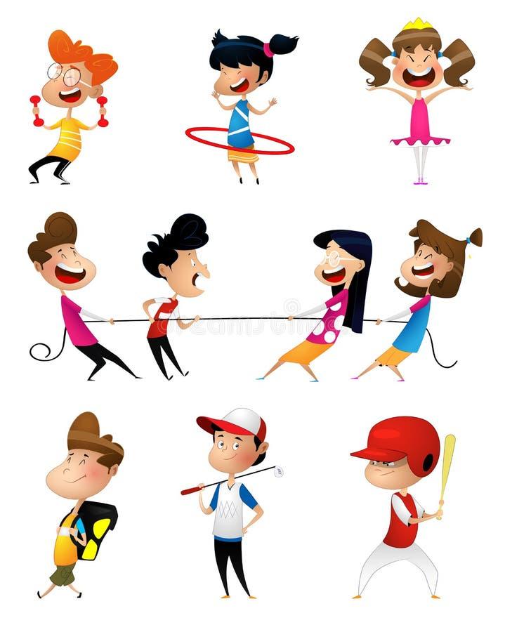 Illustration de beaucoup d'enfants faisant des sports illustration de vecteur