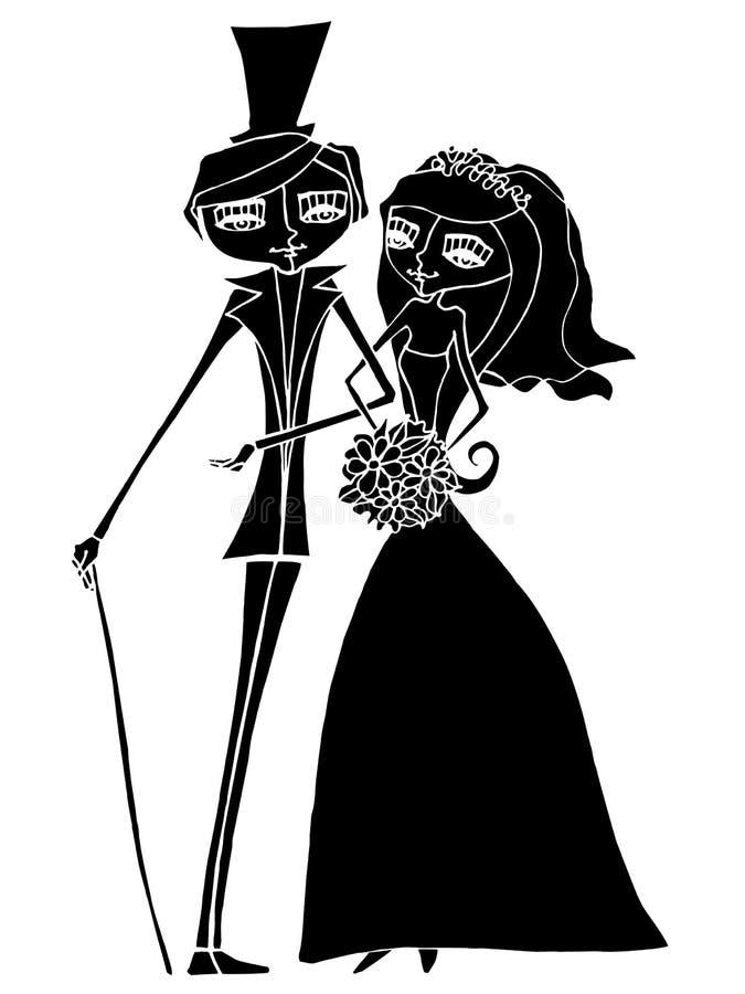 Illustration de beaux mariée et marié illustration libre de droits