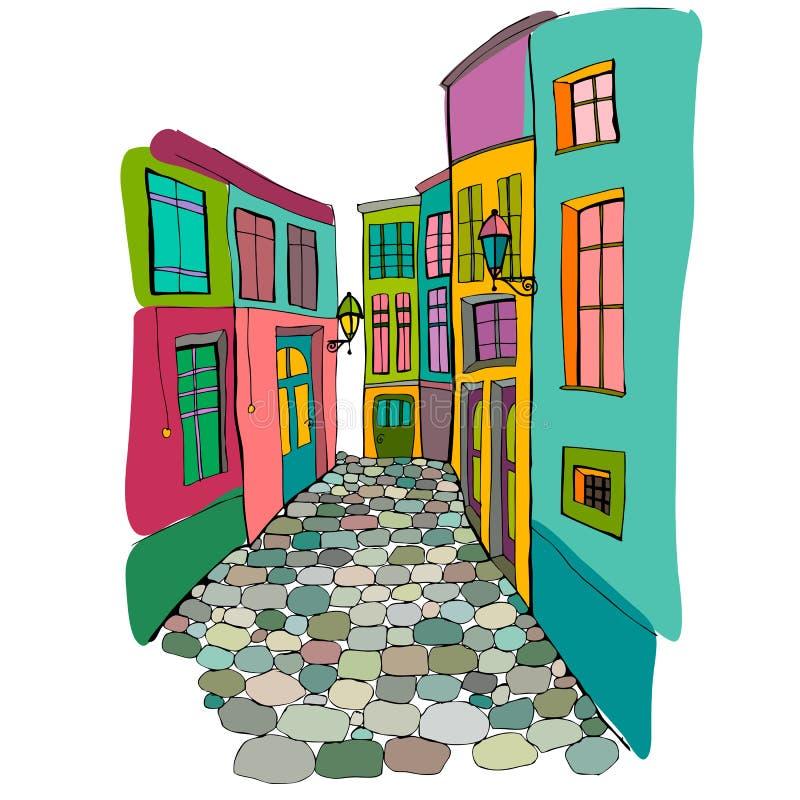 Illustration de belle rue illustration libre de droits