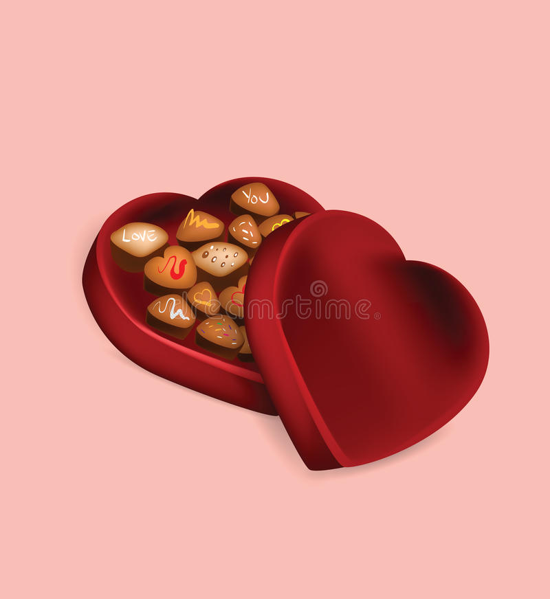 Illustration de boîte à chocolat de Saint-Valentin sur le fond rose illustration stock