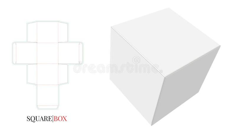 Illustration de boîte carrée Le vecteur avec découpé/laser avec des matrices a coupé des couches illustration de vecteur