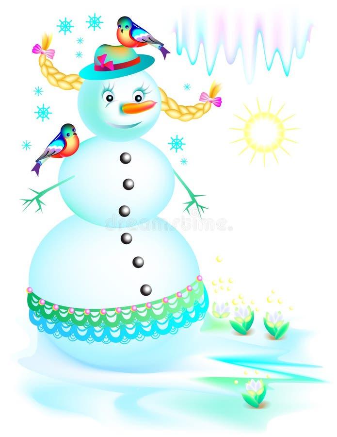 Illustration de bonhomme de neige drôle fondant au printemps illustration libre de droits