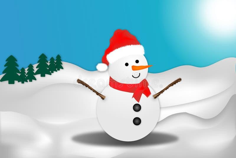 Illustration de bonhomme de neige et de paysage d'hiver image libre de droits