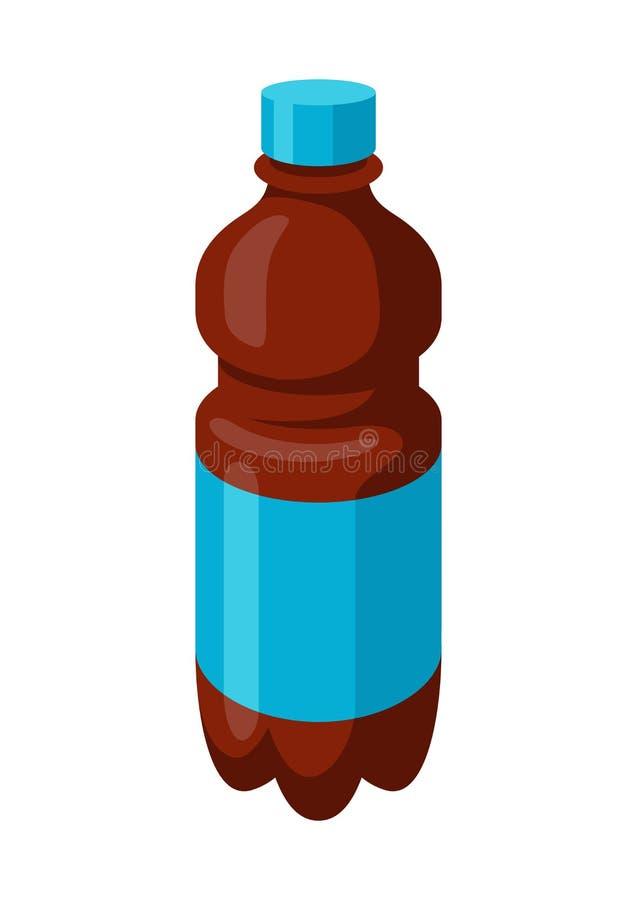 Illustration de bouteille stylisée de soude ou de kola dans le tarre en plastique illustration stock