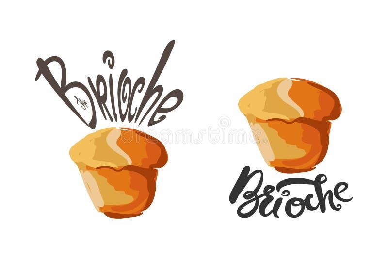Illustration de brioche pour le menu, cartes, modèles, papier peint Logo de brioche illustration stock