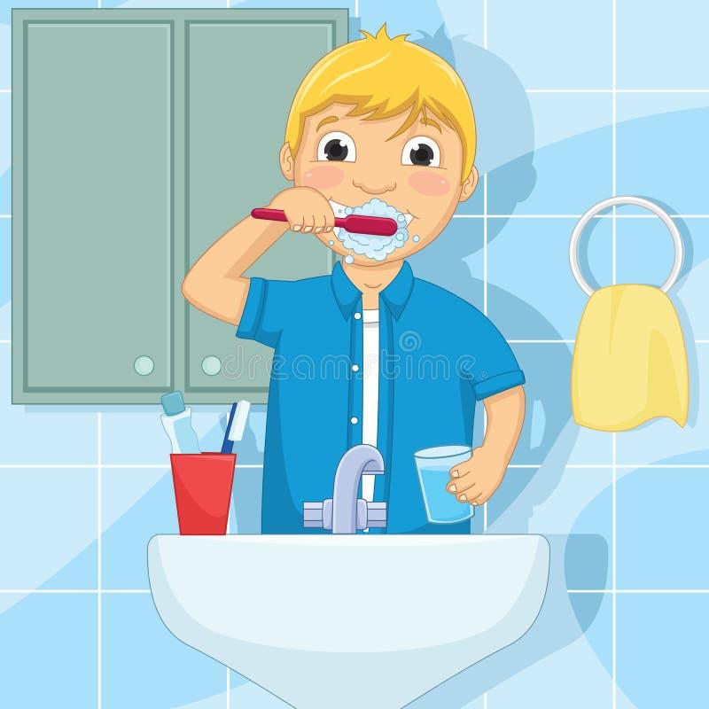 Illustration de brossage de vecteur de dents de Little Boy illustration stock
