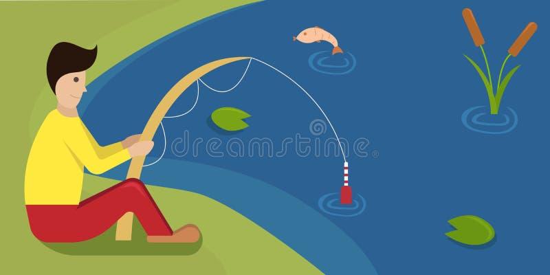 Illustration de brun de vecteur de griffonnage L'art moderne pour l'homme de coffeeThe avec une tige pêche sur la banque du lac illustration stock