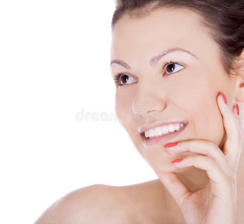 Illustration de brunette de sourire au-dessus de blanc photo stock