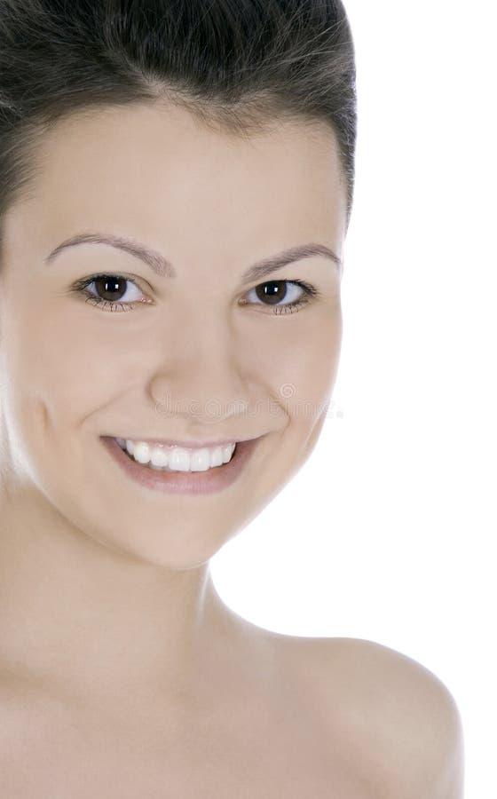 Illustration de brunette de sourire au-dessus de blanc image stock