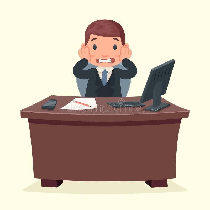 Illustration de bureau de vecteur de conception de bande dessinée de bureau de travail de caractère d'homme d'affaires de choc de illustration stock