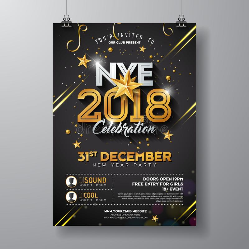 Illustration de calibre d'affiche de célébration de partie de la nouvelle année 2018 avec le nombre brillant d'or sur le fond noi illustration stock