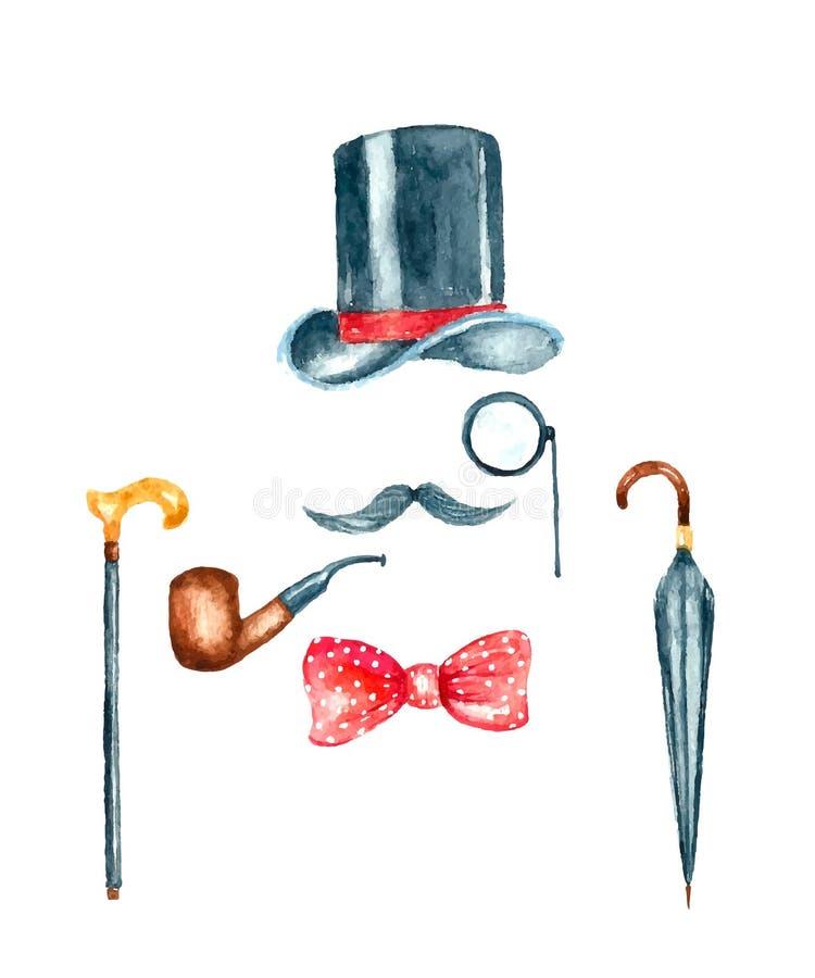 Illustration de calibre de monsieur de vintage d'aquarelle illustration libre de droits