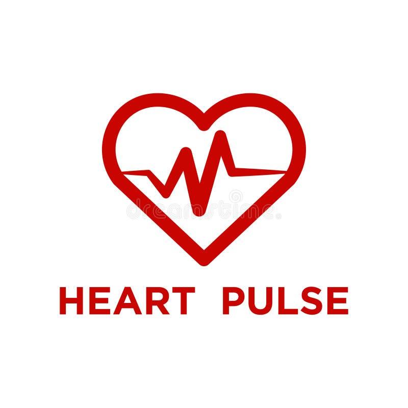Illustration de calibre rouge de logo d'impulsion de coeur illustration stock