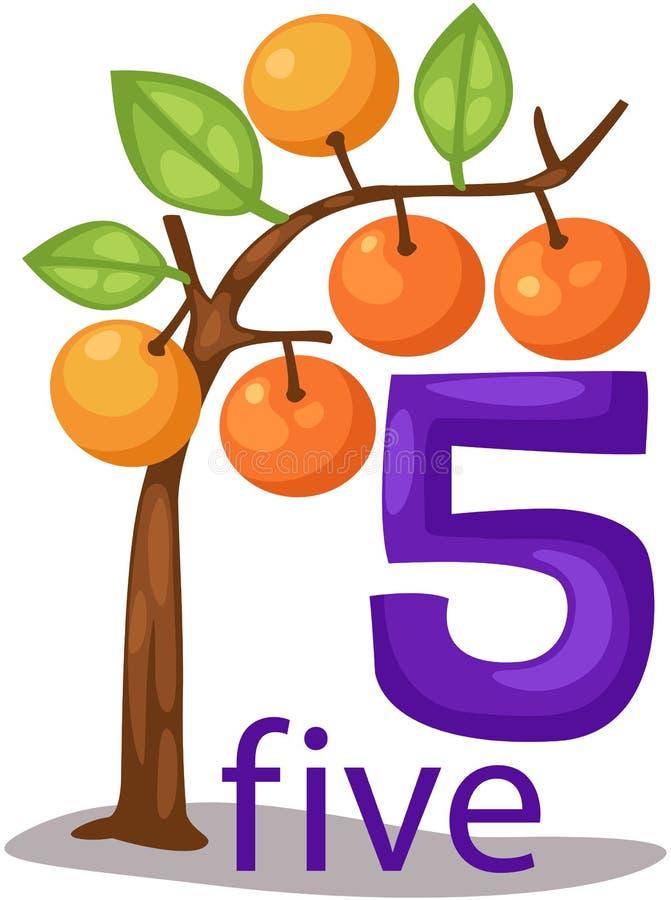 Caractère du numéro 5 avec l'arbre orange illustration stock