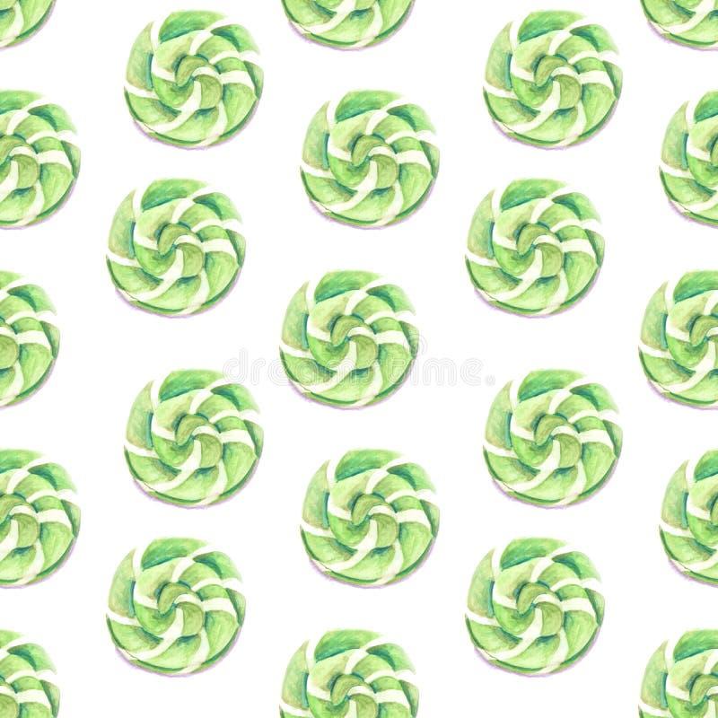 Illustration de caramel de vert de modèle d'aquarelle illustration stock