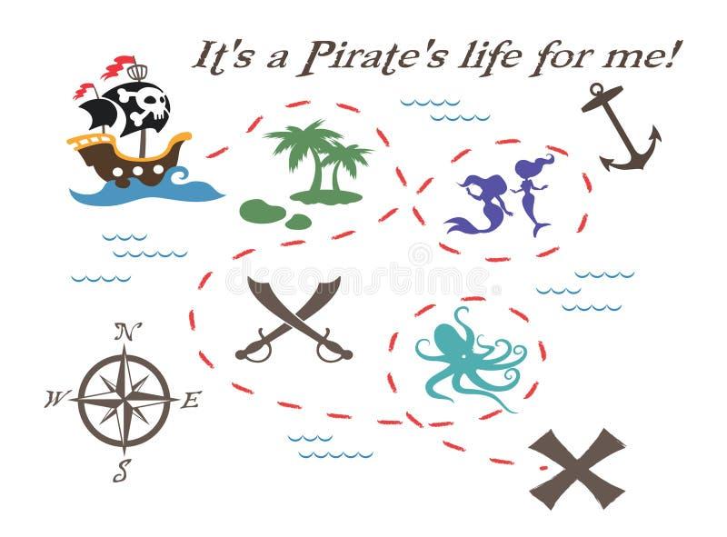 Illustration de carte de trésor de pirate photographie stock