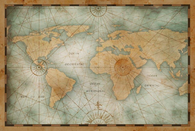 Illustration de carte du monde de couleur de cru basée sur l'image meublée par la NASA image libre de droits
