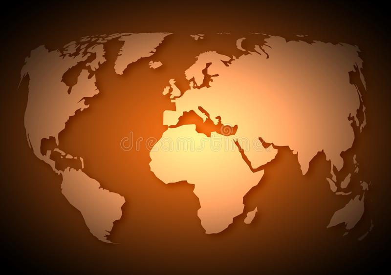 Illustration de carte du monde dans le style antique antique illustration de vecteur