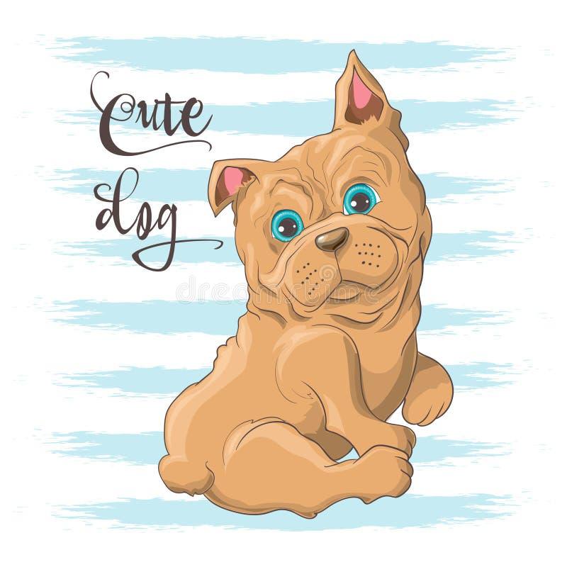 Illustration de carte postale d'un bouledogue mignon de petit chien Copie sur la pi?ce de v?tements et d'enfants s illustration libre de droits
