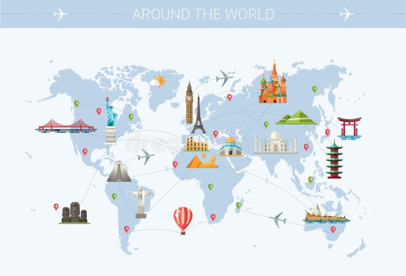 Illustration de carte postale plate de conception avec célèbre photo libre de droits