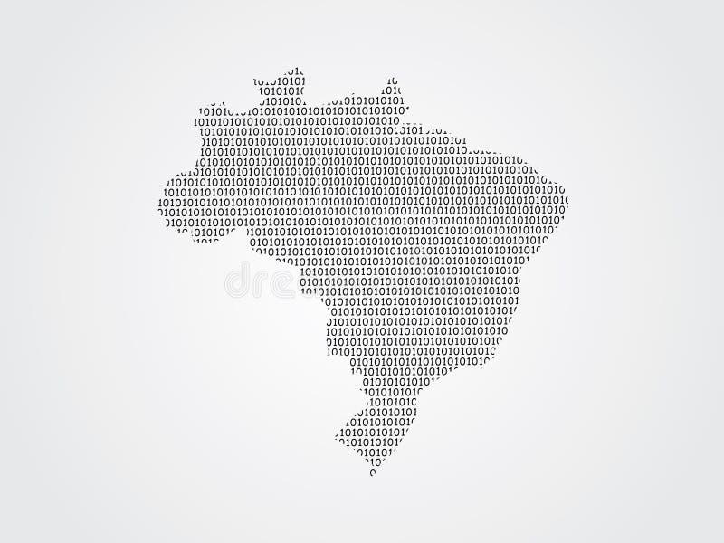 Illustration de carte de vecteur du Brésil utilisant des codes binaires sur le fond blanc pour signifier l'avancement de la techn illustration stock