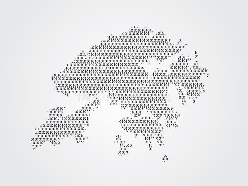 Illustration de carte de vecteur de Hong Kong utilisant des codes binaires sur le fond blanc pour signifier l'avancement de la te illustration stock