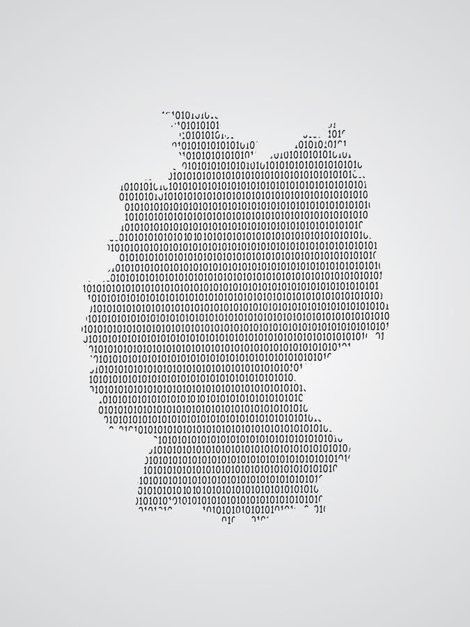 Illustration de carte de vecteur de l'Allemagne utilisant des codes binaires sur le fond blanc pour signifier l'avancement de la  illustration stock