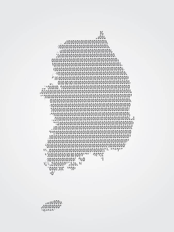Illustration de carte de vecteur de la Corée du Sud utilisant des codes binaires sur le fond blanc pour signifier l'avancement de illustration de vecteur